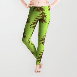 Sparkly Gold Christmas tree on abstract green paper Leggings