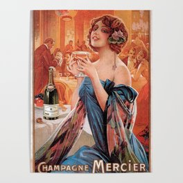Vintage Paris French Mercier Champagne Advertisement Poster
