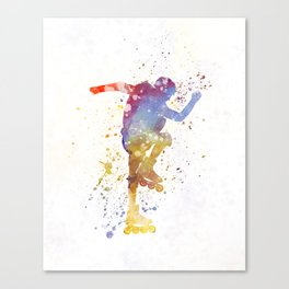 Man roller skater inline 02 in watercolor Canvas Print