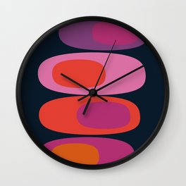 Mellow Out - 70s retro throwback trendy vintage style orb stone pebbles 1970's Wall Clock