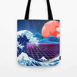 Synthwave Space: The Great Wave off Kanagawa #3 Tote Bag