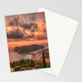 The sunset above village Assos in Kefalonia island, Greece Stationery Cards