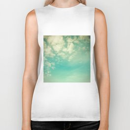 Retro Vintage Blue Turquoise Fall Sky and Clouds Biker Tank