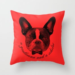 James: A Gentleman and a Scholar in Red Throw Pillow