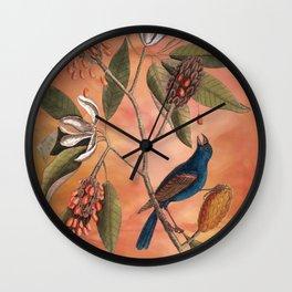 Blue Grosbeak with Sweetbay Magnolia, Vintage Natural History and Botanical Wall Clock