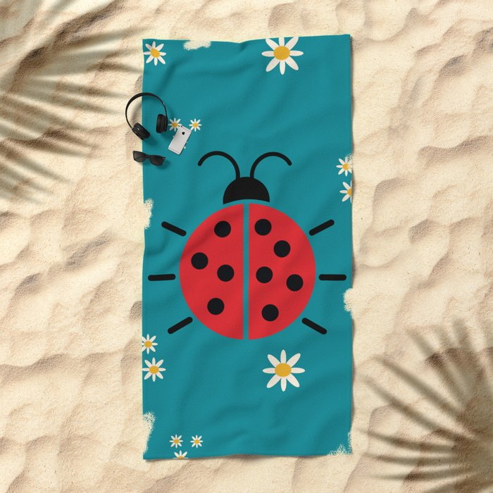 ladybug flowers Beach Towel