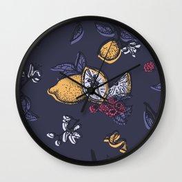 Lemon&raspberry in trendy ultraviolet color Wall Clock