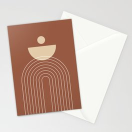 Mid Century Modern Geometric 16 (Terracotta and Beige) Stationery Cards