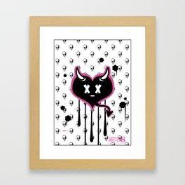Evil Heart with Devil's Horns, Tail and Skulls Framed Art Print