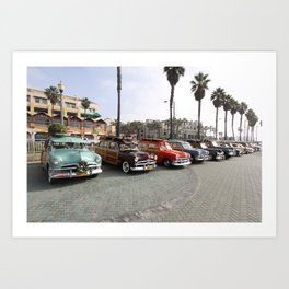 Beach Woodys Cars  Art Print