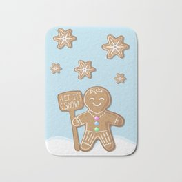 Merry Christmas Blue Poster with Gingerbread Man and Snowflakes Bath Mat