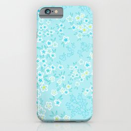 Forget Me Knot - Little Flowers on aqua iPhone Case