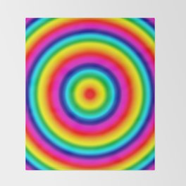 Psychedelic Rainbow Circles Pattern  Throw Blanket