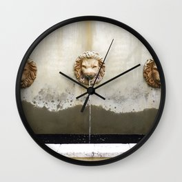Three Lions Fountain Wall Clock