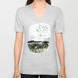 Dream of the Chicago wetlands. Unisex V-Neck