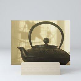 black cast iron kettle Chinese Mini Art Print