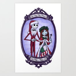 Merry Halloween Jack & Sally Skellington | Nightmare Before Christmas Art Print