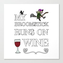 Halloween Costume Decoration Wine Lover Witch Witches Broom Canvas Print