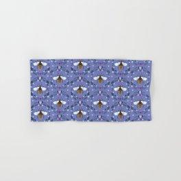 Folk Honey Bee Pattern on Cornflower Blue Hand & Bath Towel
