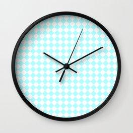 Small Diamonds - White and Celeste Cyan Wall Clock