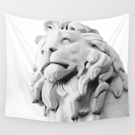 Stone Lion - Black&White Wall Tapestry