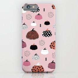 Halloween pumpkin patch harvest autumn garden pink orange girls pattern design print iPhone Case