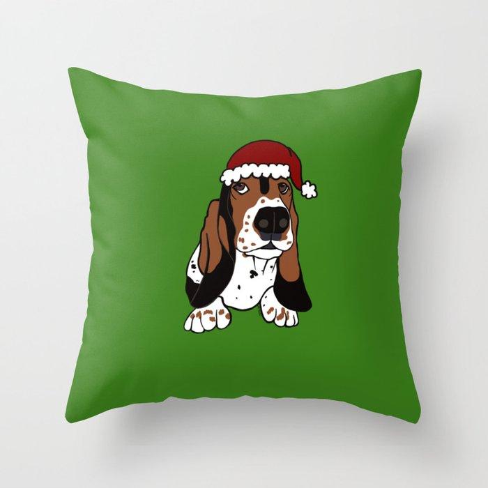 A Basset Full of Christmas Throw Pillow