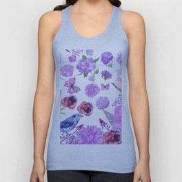 Elegant pink violet watercolor hand painted floral pattern Unisex Tank Top