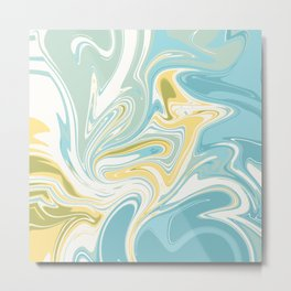 Marbling - pastel yellow blue Metal Print