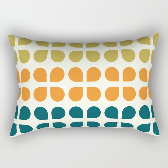 Retro '70s Geometric Leaves Rectangular Pillow