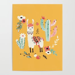 White Llama with flowers Poster