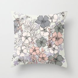 Flower vintage design with wild roses in english style Throw Pillow