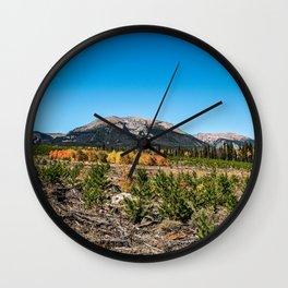Treeline Mountain Top // Long Range Landscape Photograph Rustic Forest Fall Colors Wall Clock
