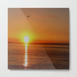 Ocean Flight with the Sun and Moon Metal Print