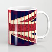 british flag Mugs featuring BRITISH FLAG by shannon's art space