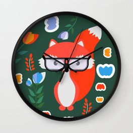 Fox with glasses and flowers Wall Clock