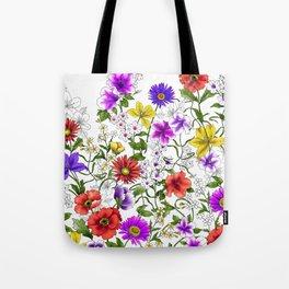 Watercolor Botanical Border Tote Bag