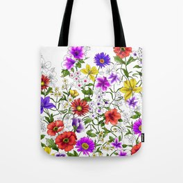 Watercolor Botanical Border Tote Bag