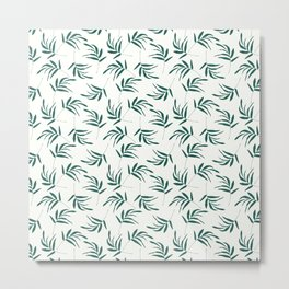 Green leaves and branches pattern Metal Print