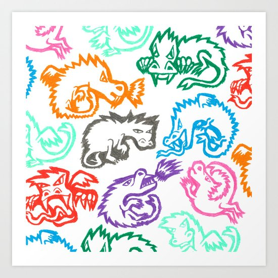 Crayon Love: Dragons Art Print