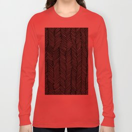 Herringbone Cream on Black Long Sleeve T-shirt