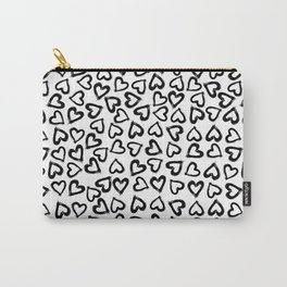 Black Ink Hearts Carry-All Pouch