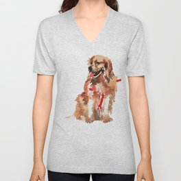 watercolor dog vol 17 golden retriever Unisex V-Neck