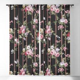 Elegant faux rose gold black stripes vintage blush pink lavender floral Blackout Curtain