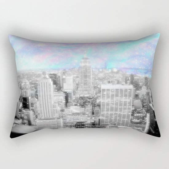 New York City. Pink Lavender Periwinkle Aqua Skies Rectangular Pillow