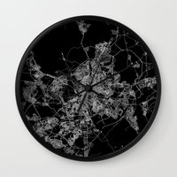 real madrid Wall Clocks featuring Madrid by Line Line Lines