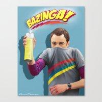 bazinga Canvas Prints featuring Sheldon  - BAZINGA! by ShannonPosedenti