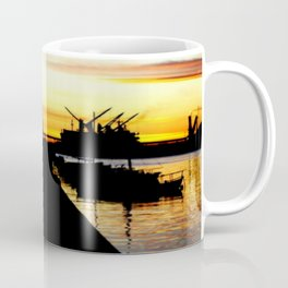 Light shines over the Harbour Coffee Mug