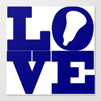 lacrosse Canvas Prints featuring Lacrosse Love Navy Blue by YouGotThat.com