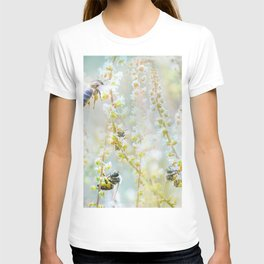 Honey bees collecting nectar from white flowers T-shirt